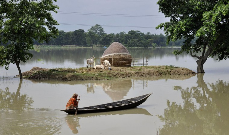 An Indian villager paddles a boat through floodwaters and past partially-submerged farmland at Buraburi village in the Morigaon district of the state of Assam on August 18, 2014. Heavy rainfall has claimed at least 24 lives in India. (BIJU BORO/AFP/Getty Images)