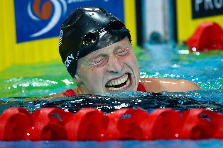 Katie Ledecky of the US reacts following her world record breaking swim in the women's 1500m freestyle final at the Gold Coast Aquatic Centre, Gold Coast on August 24, 2014. The Pan Pacific Championships ends on August 24. (Patrick Hamilton/AFP/Getty Images)