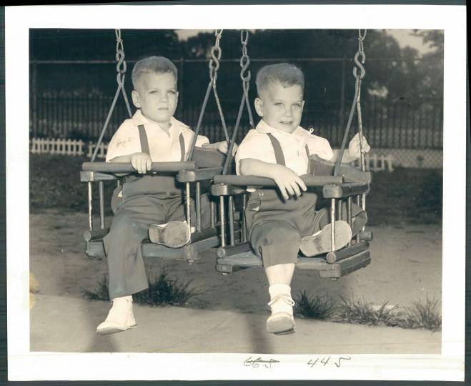 Joseph and John Kidd, 22-months old, of S. Ellwood Avenue. (Sun photographer Albert Cochran/August 6, 1952)