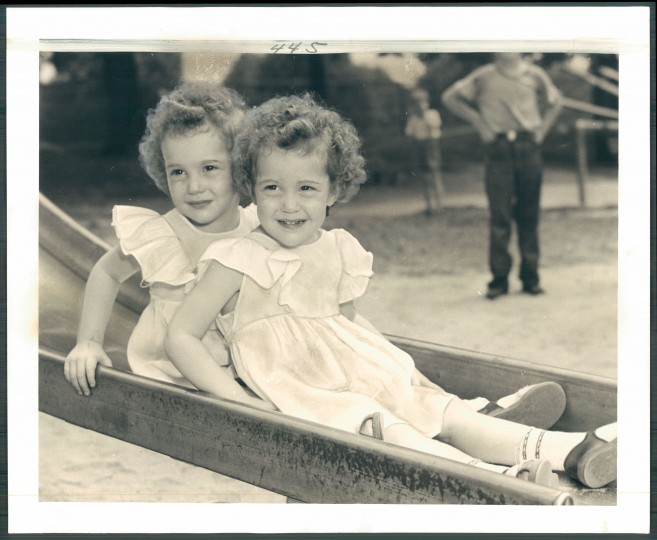 Betsy and 2-1/2-years old twins, W. North Avenue. (Sun photographer Albert Cochran/August 6, 1952)