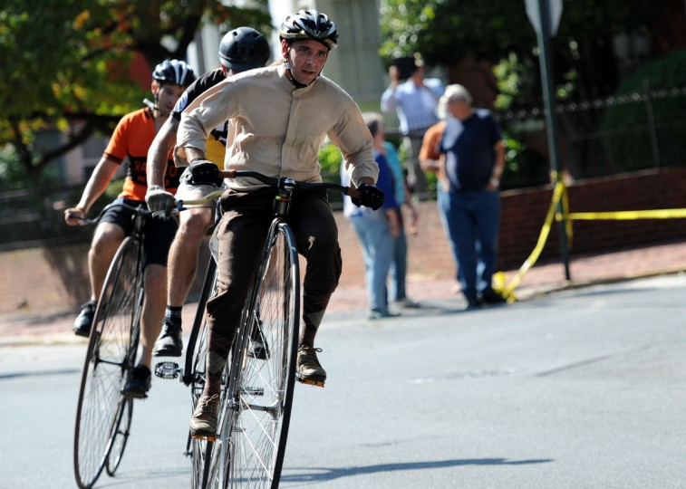 Steve Weddles of Greencastle, Pa., rides in the 2014 Frederick Clustered Spires High Wheel Race. (Kim Hairston/Baltimore Sun)