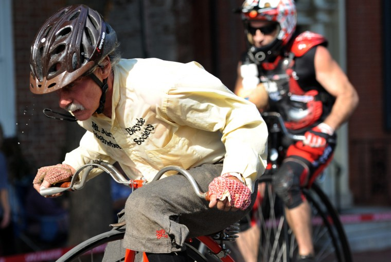 Larry Black of Mt. Airy races his 2000 Mesicek in the 2014 Frederick Clustered Spires High Wheel Race. (Kim Hairston/Baltimore Sun)