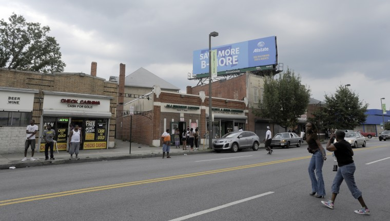 This is a view of the 3400 block of Park Heights Avenue, where $600,000 was supposedly spent on new facades. (Barbara Haddock Taylor/Baltimore Sun/Aug. 1, 2012)