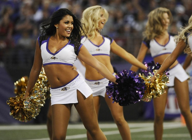 Ravens cheerleaders dance in the game against the San Francisco 49ers at M&T Bank Stadium on August 7, 2014. The Ravens won 23-3. (Rachel Woolf/Baltimore Sun)