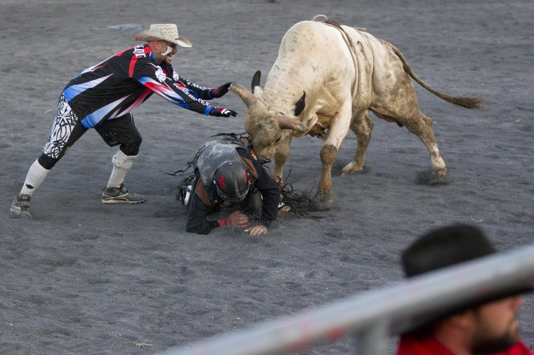 A bull goes after a bull rider during Bull Blast at the 69th Annual Howard County Fair in West Friendship on Monday, August 4, 2014. (Jen Rynda/BSMG)