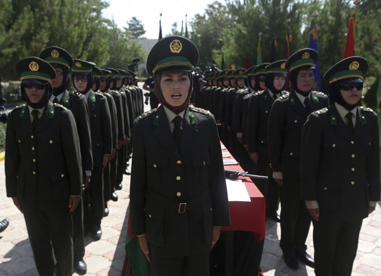 Female Afghan National Army (ANA) officers attend their graduation ceremony at the Kabul Military Training Centre August 24, 2014. (Omar Sobhani/Reuters)