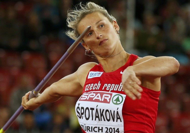 Barbora Spotakova of Czech Republic competes in the women's javelin throw final during the European Athletics Championships at the Letzigrund Stadium in Zurich August 14, 2014. (Phil Noble/Reuters)
