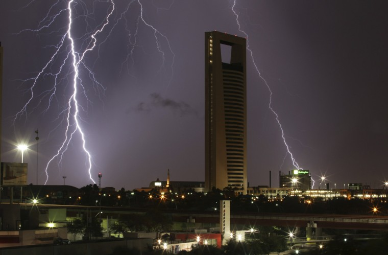Lightning strikes during a summer storm in Monterrey, Mexico. (Daniel Becerril /Reuters)