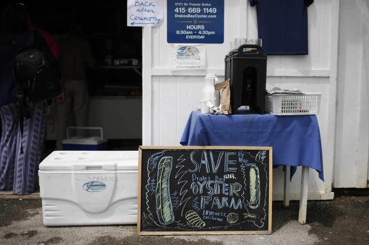 A sign is seen outside Drakes Bay Oyster Company oyster shack in Inverness, California July 31, 2014. (Stephen Lam/Reuters)