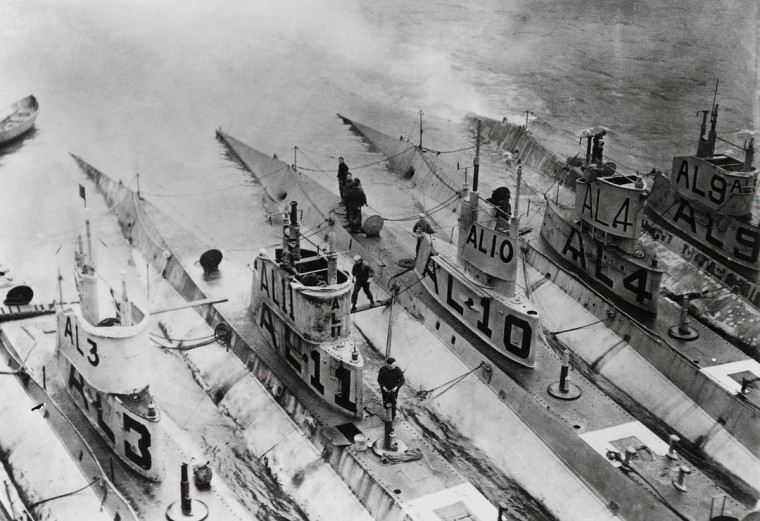 "L-boat submarines are seen stationed in the Azores during World War One. World War One pioneered many ""firsts"" in technological, scientific and societal innovations. Submarines were used in mass numbers for the first time in naval warfare. (REUTERS/Handout via U.S. Navy)"