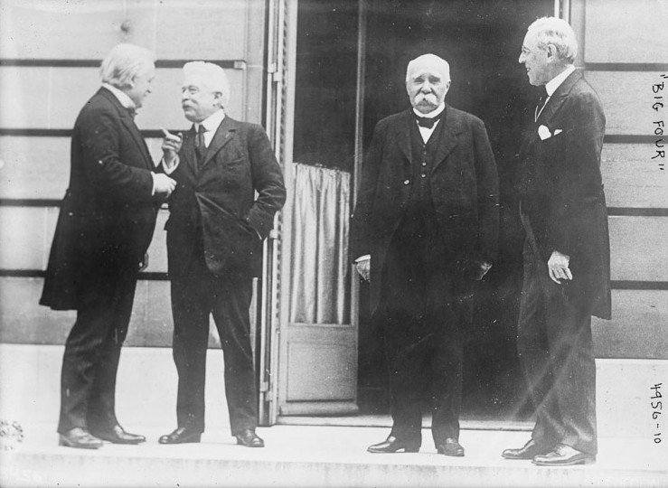 "The Big Four Allied leaders of World War One, also known as the Council of Four, British Prime Minister David Lloyd George, Italian Premier Vittorio Emanuele Orlando, French Premier Georges Clemenceau and President Woodrow Wilson are seen in Versailles at the Paris peace conference, May 27, 1919. World War One pioneered many ""firsts"" in technological, scientific and societal innovations. Woodrow Wilson became the first U.S. president to make an official trip to Europe for the Paris peace conference. (REUTERS/Handout via U.S. Library of Congress)"