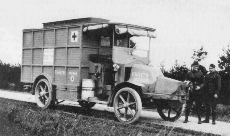 "A Renault truck outfitted with mobile X-ray equipment is seen in an undated World War One photo. World War One pioneered many ""firsts"" in technological, scientific and societal innovations. Mobile X-rays were developed to aid doctors in performing battlefield surgeries. (REUTERS/Handout via U.S. Army)"
