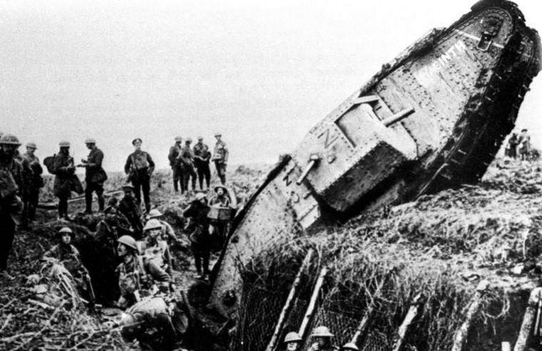 "A British Mark IV tank falls into a trench at Ribecourt la Tour, near Cambrai, during the Battle of Cambrai, November 20, 1917. World War One pioneered many ""firsts"" in technological, scientific and societal innovations. Tanks were invented as a means of breaking the trench warfare stalemate. (REUTERS/Handout/Files)"