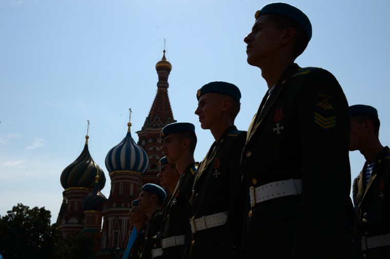 Russian paratroopers attend a parade on Moscow's Red Square. Russians celebrate paratrooper day on Saturday, a tradition carried over from Soviet times. (Vasily Maximov/AFP-Getty Images)