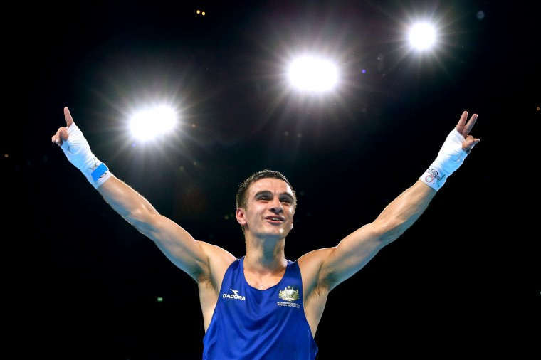 Andrew Moloney of Australia celebrates winning the gold medal in the Men's Fly (52kg) Final against Muhammad Waseem of Pakistan at SSE Hydro during day ten of the Glasgow 2014 Commonwealth Games in Glasgow, Scotland. (Alex Livesey/Getty Images)