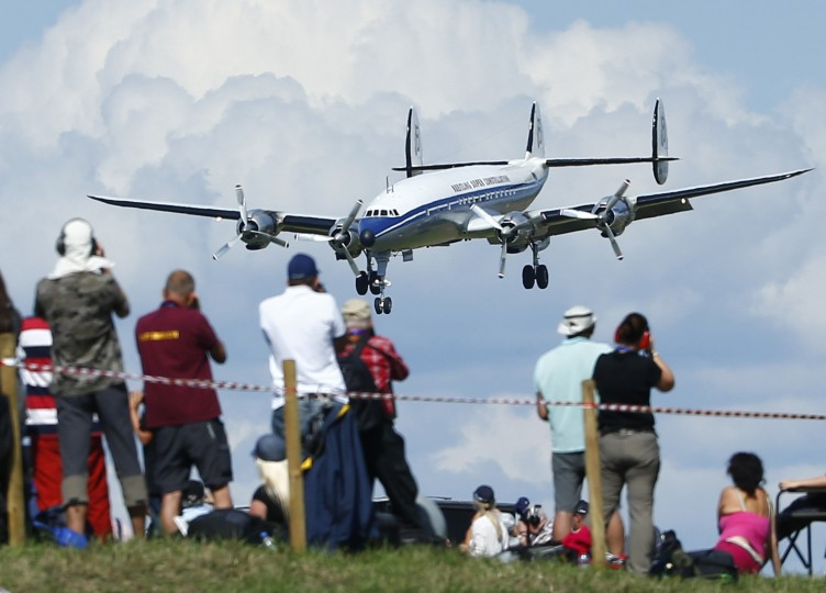 A Lockheed Super Constellation 'Super Connie' lands during the Air14 airshow at the airport in Payerne August 30, 2014. The Swiss Air Force celebrates their 100th anniversary with the biggest airshow in Europe this year. (Ruben Sprich/Reuters)