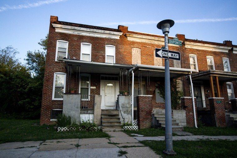 Rowhomes along Dupont Avenue in Park Heights. (Kalani Gordon/The Baltimore Sun/August 2014)