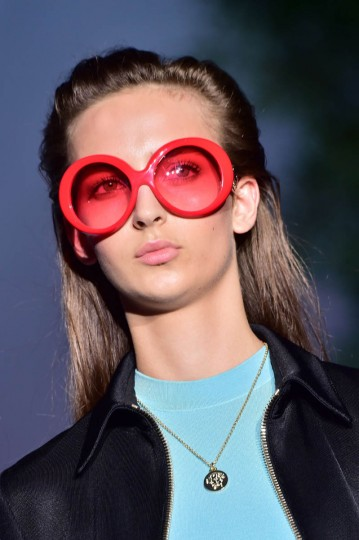 A model presents a creation from the Versace collection during the 2015 Spring / Summer Milan Fashion Week on September 19, 2014 in Milan. (Giuseppe Cacace/Getty Images)