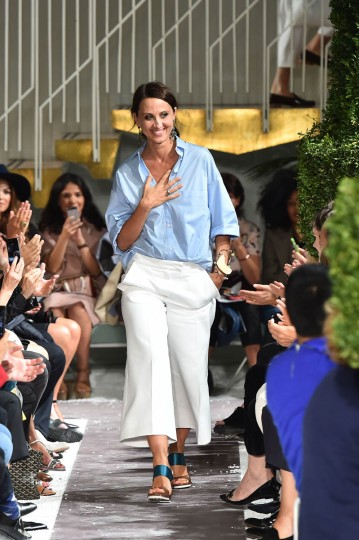 Italian fashion designer Alessandra Facchinetti greets the audience at the end of the Tod's collection show during the 2015 Spring / Summer Milan Fashion Week on September 19, 2014 in Milan. (Gabriel Bouys/Getty Images)