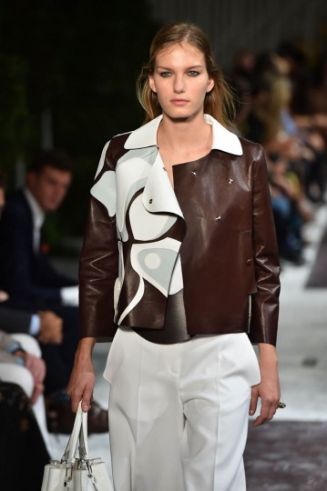 A model presents a creation from the Tod's collection during the 2015 Spring / Summer Milan Fashion Week on September 19, 2014 in Milan. (Gabriel Bouys/Getty Images)