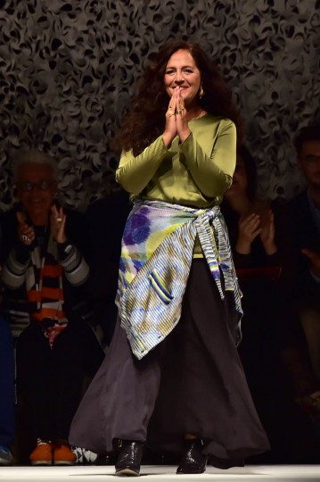 Italian designer Angela Missoni greets the audience at the end the Missoni collection show during the 2015 Spring / Summer Milan Fashion Week on September 19, 2014 in Milan. (Giuseppe Cacace/Getty Images)