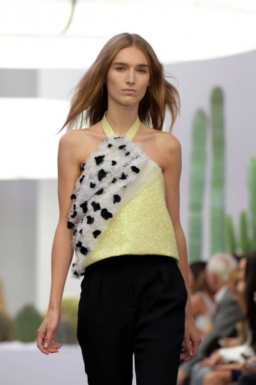 A model walks the runway during the Iceberg show as a part of Milan Fashion Week Womenswear Spring/Summer 2015 on September 19, 2014 in Milan, Italy. (Pier Marco Tacca/Getty Images)