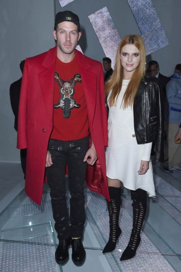 Johnny Wujek and Bella Thorne attend the Versace show during the Milan Fashion Week Womenswear Spring/Summer 2015 on September 19, 2014 in Milan, Italy. (Tullio M. Puglia/Getty Images)