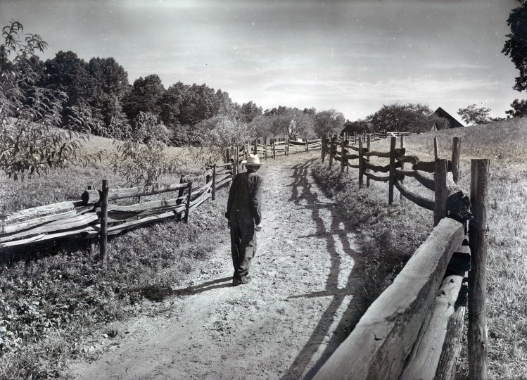 A stake fence - the rails are supported by pairs of very slender posts - boarders the lane to a farmhouse off Falls Road. (A. Aubrey Bodine/Baltimore Sun file, September 4, 1949)