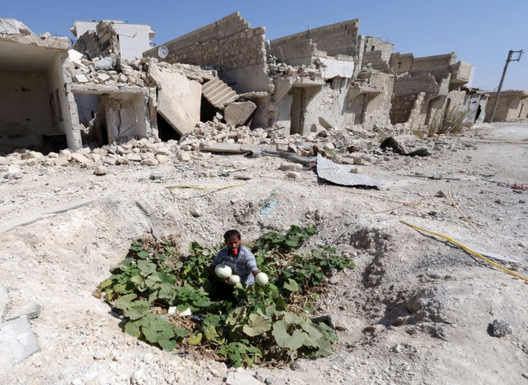A Syrian man collects vegetables from a vegetable patch locals grew at the site where a barrel bomb hit a sewage pipe in the Baedeen neighborhood of the northern Syrian city of Aleppo. Aleppo province has been subject to a particularly fierce regime aerial campaign, including the use of explosive-packed barrel bombs tossed from regime helicopters that rights groups say kill indiscriminately. (Zein Al-Rifai/Getty Images)