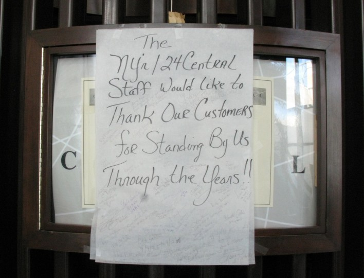 A sign, left by the staff of 24 Central Cafe inside theTrump Plaza Casino, thanks their customers September 15, 2014 in Atlantic City, New Jersey. The Trump Plaza, which opened on May 14, 1984, shut down September 16, the fourth casino to shutter its doors this year, and a fifth casino, the Trump Taj Mahal, may close if it cannot cut costs of operation. The massive contraction, following years of customer losses to surrounding states, is eliminating 8,000 jobs, or about a quarter of the industry's employment in Atlantic City. (Don Emmert/AFP/Getty Images)