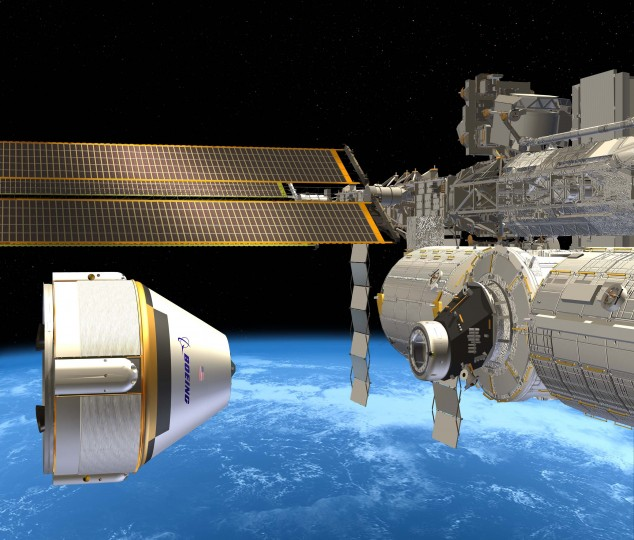 This handout photo provided September 16, 2014 by the Boeing Company shows an artist's rendition of the Crew Space Transportation (CST)-100 next to the International Space Station(ISS). Boeing and SpaceX have been tapped to build the next generation of space vehicles that will carry US astronauts to low Earth orbit and back, NASA announced on Tuesday. The $6.8 billion USD contract announced by NASA administrator Charles Bolden at the Kennedy Space Center in Florida, will enable the United States to develop its own crew transport vehicles that could carry astronauts to the International Space Station by 2017, US officials said. (Boeing Handout/AFP/Getty Images)