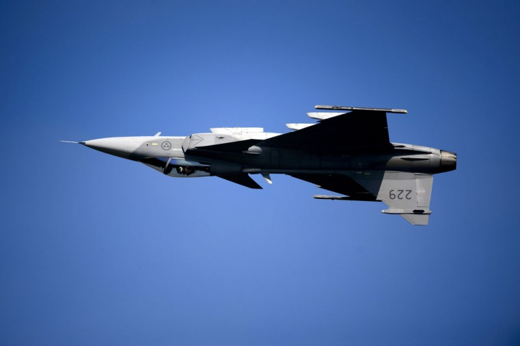 A Saab JAS 39 Gripen fighter jet performs during the second weekend of the AIR14 air show on September 6, 2014 in Payerne, western Switzerland. (FABRICE COFFRINI/AFP/Getty Images)