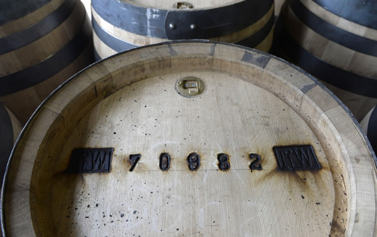 A signature is seen on a new beer barrel produced at the barrel factory Schmid in Munich, southern Germany, on September 8, 2014. The barrel factory produces about 1,000 beer barrels with capacities of ten to 200 liters per year. (Christof Stache/AFP/Getty Images)
