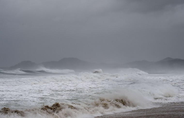 View of waves in San Jose del Cabo, Baja California State, Mexico, on September 14, 2014. Hurricane Odile swirled menacingly toward Mexico's Los Cabos resorts on Sunday, leading authorities to evacuate high-risk areas and open shelters as the powerful storm threatened to thrash the Pacific coast. (Donaldo Schemidt/AFP/Getty Images)