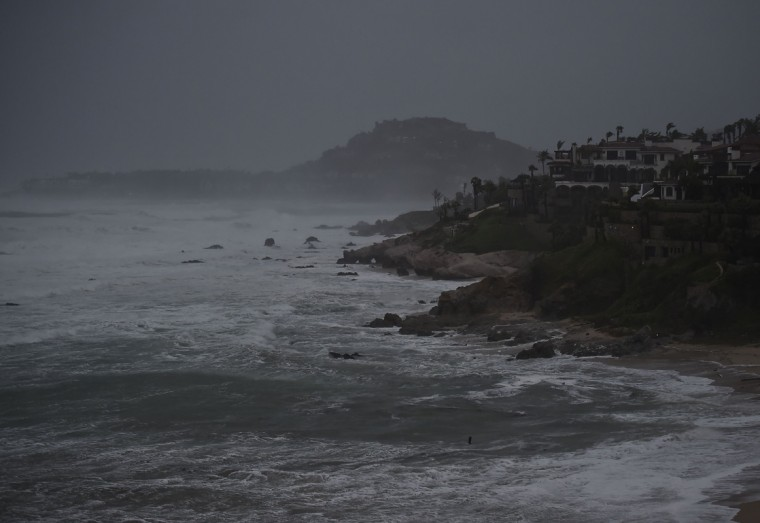 View of waves in Cabo San Lucas, Baja California State, Mexico, on September 14, 2014. Hurricane Odile swirled menacingly toward Mexico's Los Cabos resorts on Sunday, forcing authorities to evacuate high-risk areas and open shelters as the powerful storm threatened to thrash the Pacific coast. (Donaldo Schemidt/AFP/Getty Images)