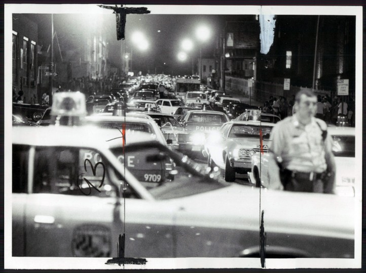 Police cars and emergency vehicles crowd Eager street in response to a City Jail disturbance. (William Hotz/Sun file photo/July 14, 1974)