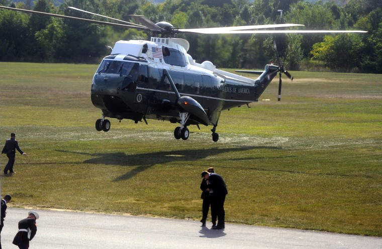 The presidential helicopter lands at Sun Park. (Barbara Haddock Taylor/Baltimore Sun)