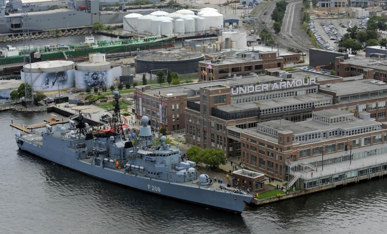 FGS Nidedersachsen, a German frigate, docks next to the Under Armour headquarters in Baltimore for the Star-Spangled Banner Bicentennial Celebration. (Lloyd Fox/Baltimore Sun)