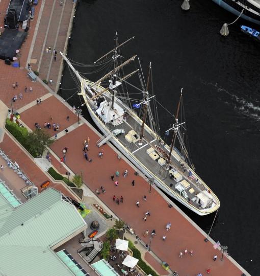 The tallship Gazela, a 177 foot barquentine vessel from Philadelphia, PA, docked at the Inner Harbor. (Lloyd Fox/Baltimore Sun)