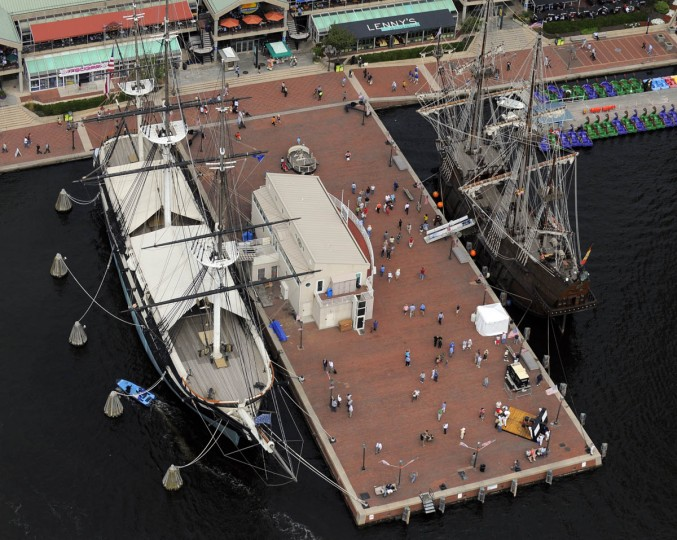 The USS Constellation, left, is moored in its usual location in the Baltimore Inner Harbor. On the right is the El Galeon Andalucia, a 171 foot galleon vessel from Seville, Spain which arrived for the Star-Spangled Banner Bicentennial Celebration. (Lloyd Fox/Baltimore Sun)