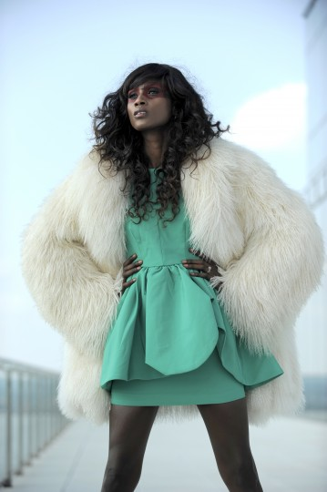 Cameo dress, $200, Cupcake. Fur, $1,500, Mano Swartz.