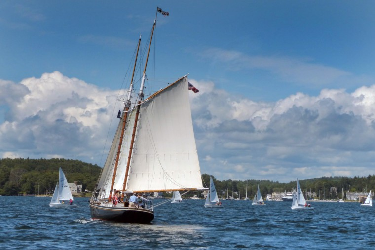 The schooner Lazy Jack, built in 1947, sails in Boothbay Harbor, Maine as young sailors learn in various sailing vessels surrounding the windjammer. (Karl Merton Ferron/Baltimore Sun)