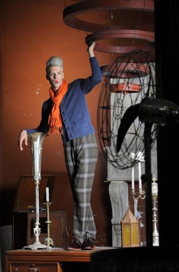 Scarf, $150, Gian Marco. Noah Waxman shoes, $625, Katwalk Boutique. Plaid trousers, $275; cardigan, $295; both by Bills Khakis at billskhakis.com