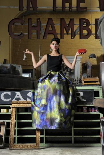 Theia gown, $995, Jones & Jones. Diane Von Furstenberg clutch, $345, Handbags in the City. Earrings, $165, Amaryllis.