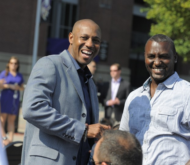 Former Raven Duane Starks (L) attended the event. Baltimore Ravens unveil the bronze Ray Lewis statue outside of M&T Bank Stadium. The statue is twelve hundred pounds and stands nine feet tall. Fred Kail was the artist and it took eleven months to make. (Lloyd Fox/Baltimore Sun)