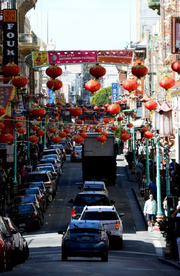 Dozens of Chinese lanterns hang over the streets in Chinatown in San Francisco.