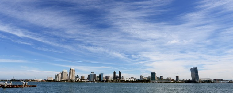 The city of San Diego is seen here from across the harbor in Coronado, which is a tied island.
