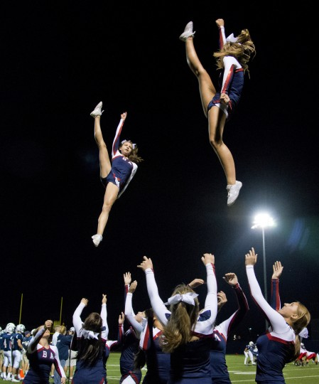 The Bel Air Cheer Squad performs a routine during the Bel Air-Edgewood football game Friday, Sept. 19. (Photo by Scott Serio, Baltimore Sun Media Group)