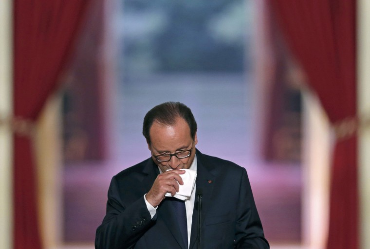 French President Francois Hollande poses as he addresses a news conference at the Elysee Palace in Paris, September 18, 2014. President Hollande, his popularity ratings at record low levels for a modern-day French leader, held on Thursday a marathon news conference outlining plans for the rest of his five-year mandate. (Christian Hartmann/Reuters)