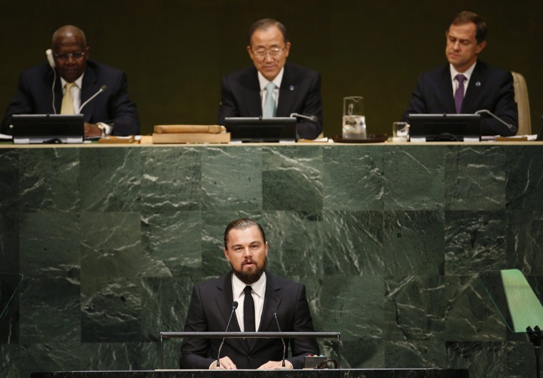 U.S. actor and UN Messenger of Peace Leonardo DiCaprio speaks during the Climate Summit at United Nations Headquarters in New York, September 23, 2014. (Mike Segar/Reuters)